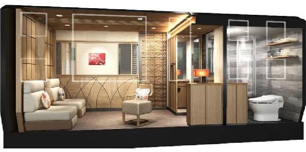 Okuyama Cruise Train-Wohnraum Badezimmer