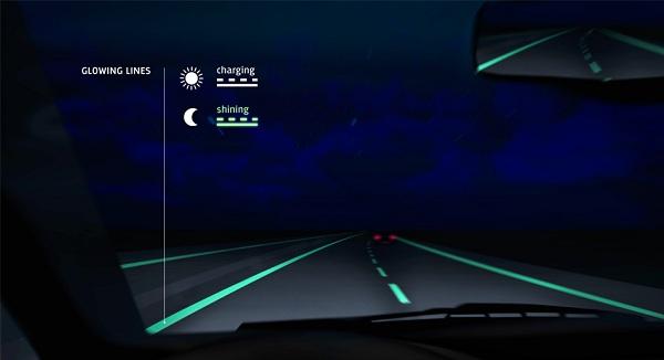 Leuchtende Farbe der smart highway - fluoreszierende straßen durch im dunkeln