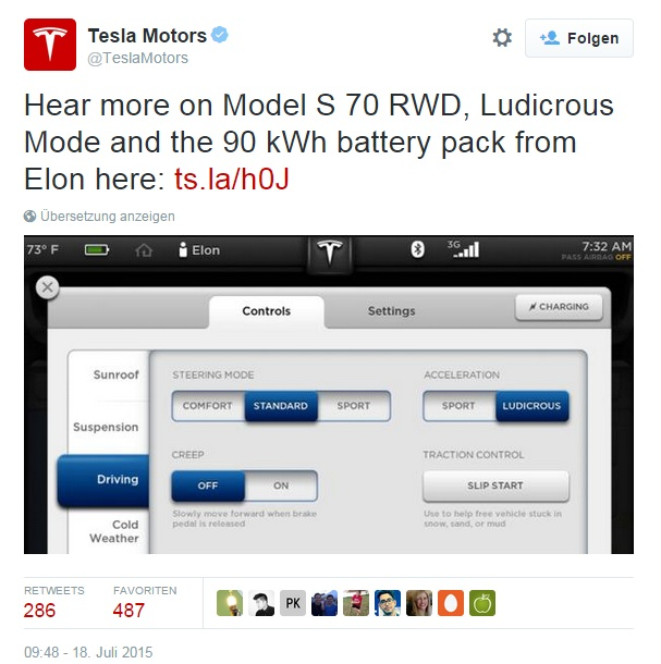 twitter tesla motors ludicrous mode