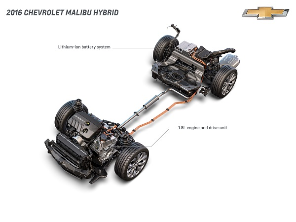 2016 Chevrolet Malibu Hybrid Lithium-Ion Battery System, 1.8L Engine und Drive Unit
