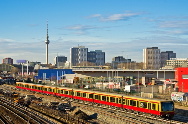 Cityscape in Berlin with railroads, Germany