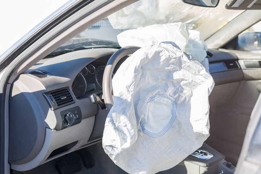 Image of airbags deployed in a hit and run accident