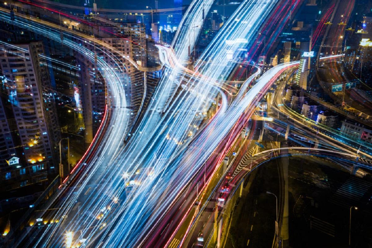 defocus view of city night