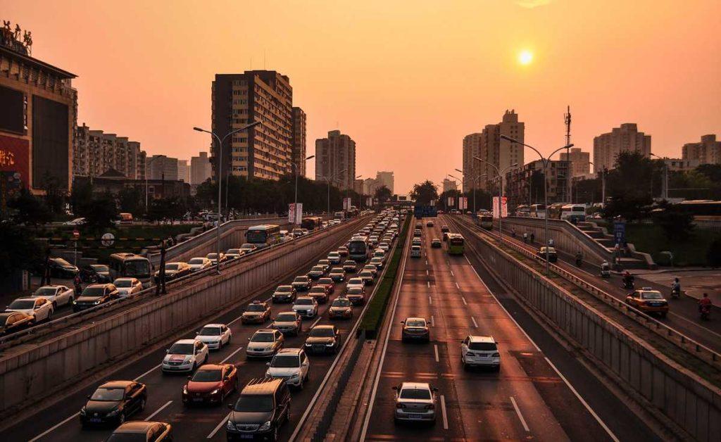 China Feierabend Verkehr